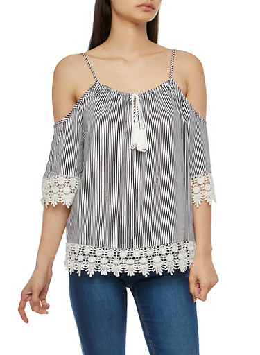 Crochet Trim Striped Off the Shoulder Top