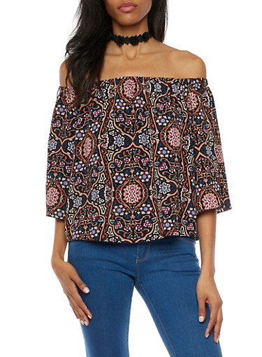 Off the Shoulder Printed Top with Flared Sleeves,BLACK,large