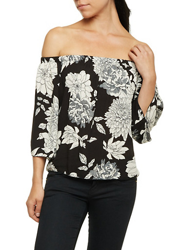 Off the Shoulder Top with Floral Print,BLACK,large