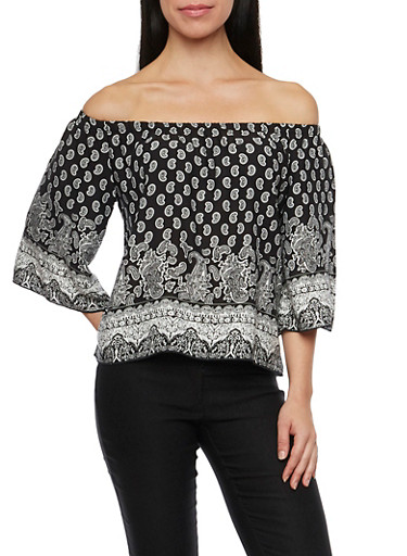 Off The Shoulder Top with Paisley Print,BLACK,large