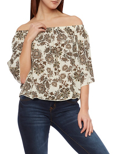 Printed Off the Shoulder Top,IVORY/OLIVE,large