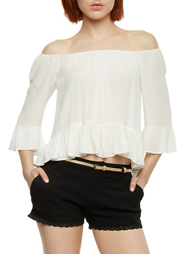 Off the Shoulder 3/4 Sleeve Top with Flounce Hem,OFF WHITE,large