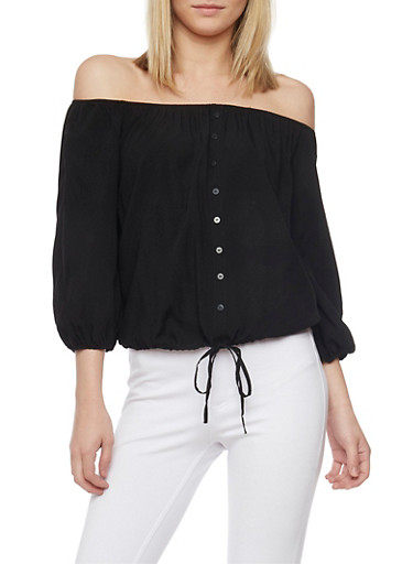 Off The Shoulder Button Front Top with 3/4 Sleeves,BLACK,large