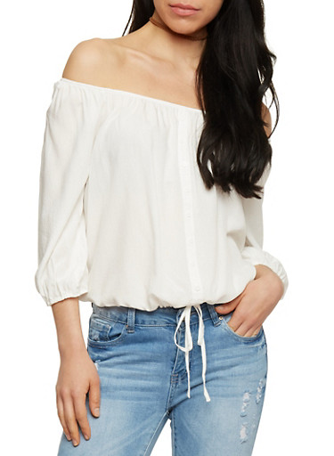 Off The Shoulder Button Front Top with 3/4 Sleeves,OFF WHITE,large