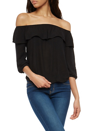 Off the Shoulder Ruffle Overlay Top,BLACK,large