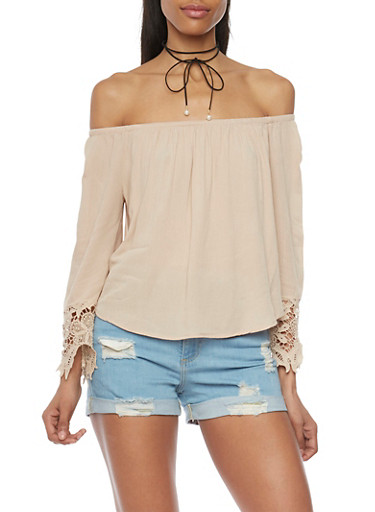 Long Sleeve Off The Shoulder Peasant Top with Crochet Trim,DESERT,large