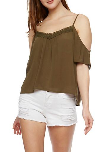 Gauze Knit Cold Shoulder Peasant Top,OLIVE,large