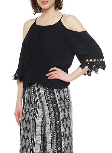 Crinkle Knit Cold Shoulder Top with Crochet Sleeves,BLACK,large