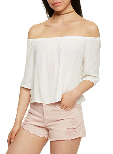 Off The Shoulder 3/4 Sleeve Top,OFF WHITE,large