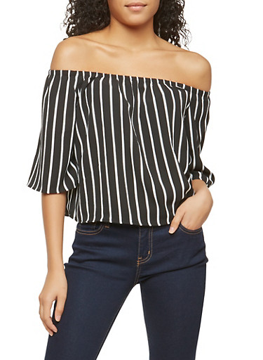 Crepe Knit Striped Off the Shoulder Top,BLACK/WHITE,large