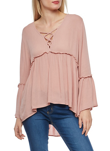 Bell Sleeve Caged Neck Babydoll Top,MAUVE,large