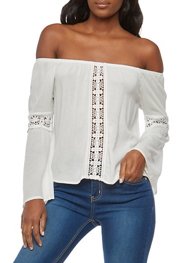 Crochet Insert Off the Shoulder Top,WHITE,large
