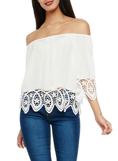 Gauze Knit Off the Shoulder Top with Crochet Trim,WHITE,large