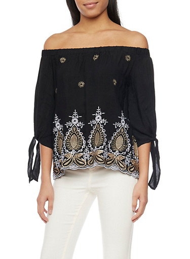 Eyelet Off Shoulder Tie Sleeve Top,BLK/GOLD/WHT,large