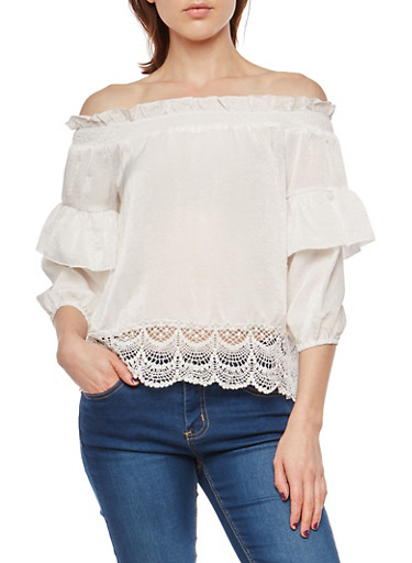 Ruffled Off the Shoulder Top with Crochet Hem,IVORY,large