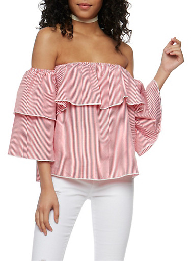 Striped Off the Shoulder Ruffle Detail Top,WHITE/RED,large