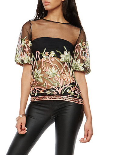 Bubble Sleeve Embroidered Mesh Top,BLK/MAUVE,large