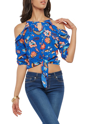 Ruffle Floral Cold Shoulder Tie Front Top,RYL BLUE,large