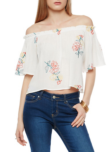 Gauze Knit Embroidered Off the Shoulder Top,IVORY MULTI,large