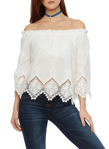 Off the Shoulder Top with Crochet Trim,WHITE,large