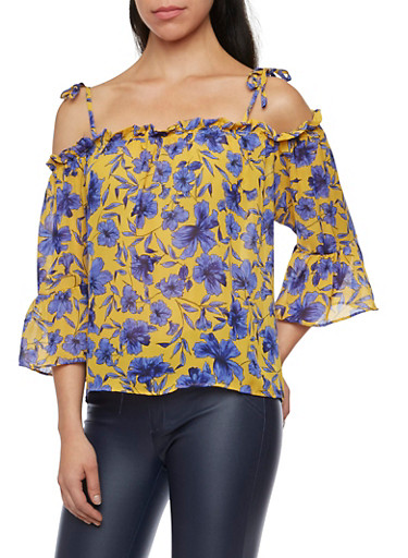 Tied Off the Shoulder Top in Floral Print,MUSTARD/BLUE,large