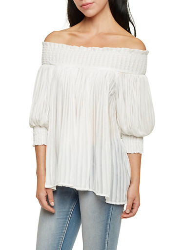 Pleated Off the Shoulder Top,IVORY,large