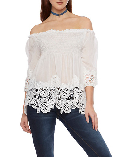 Off the Shoulder Top with Crochet Paneling,WHITE,large