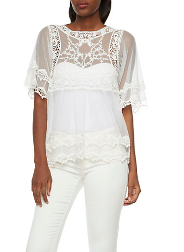 Sheer Mesh Top with Crochet Trim,WHITE,large