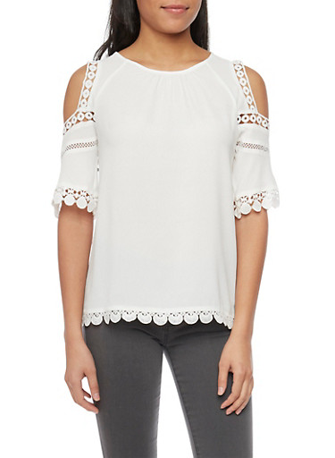 Cold Shoulder Applique Trim Crepe Blouse,IVORY,large