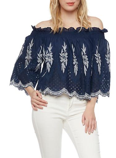 Off the Shoulder Crochet Peasant Top,DENIM/WHT,large