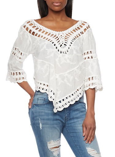 Handkerchief Hem Crochet Detail Peasant Top,IVORY,large