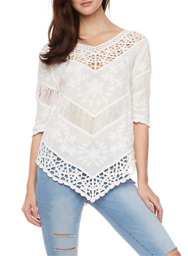 3/4 Sleeve Crochet and Embroidered Top,IVORY,large