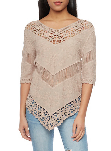 3/4 Sleeve Crochet and Embroidered Top,MOCHA,large