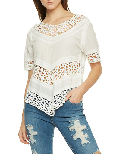 Elbow Sleeve Peasant Top with Crochet and Embroidered Details,IVORY,large