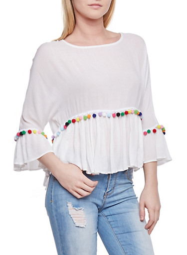 Ruffled Top with Multi Color Pom Pom Detail,WHITE,large