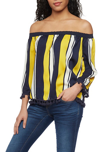 Striped Off the Shoulder Blouse with Pom Pom Trim,NAVY/IVY/MUSTRD,large