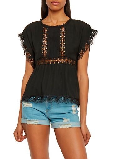 Cap Sleeve Crochet Cutout Peasant Top,BLACK,large