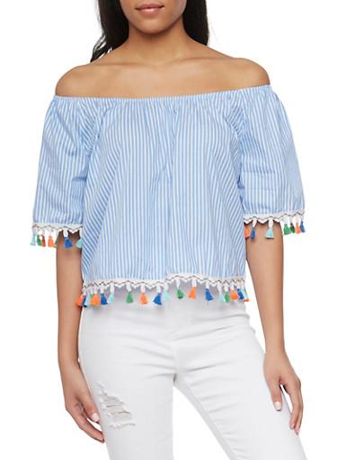 Striped Off the Shoulder Blouse with Multi Color Tassel Trim,BLUE/WHT,large