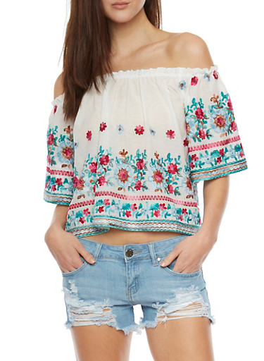 Floral Embroidered Off The Shoulder Top,JADE/FUSCHIA,large