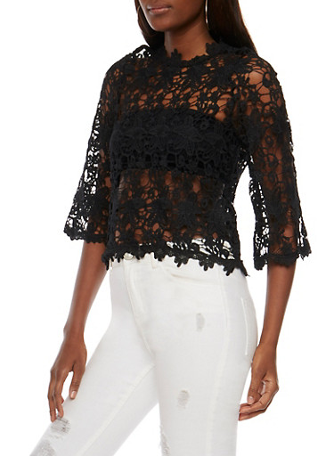 3/4 Sleeve Crochet Top with Bell Sleeves,BLACK,large