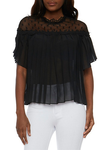 Pleated Mesh Yoke Top with Scallop Trim,BLACK,large