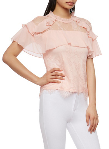 High Neck Lace Blouse with Ruffle Trim,PEACH,large