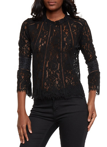 Lace Bell Sleeve Top with Smocked Detail,BLACK,large
