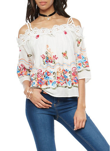 Embroidered Off the Shoulder Top with Choker,WHITE,large