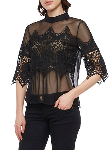 Mesh Top with Lace Accents,BLACK,large