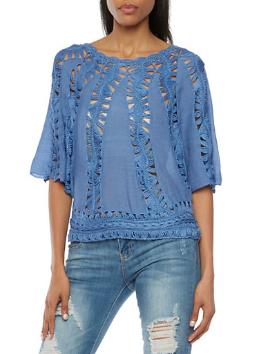 Crochet Panel Top with Batwing Sleeves,DENIM,large