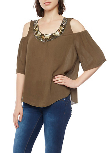 Cold Shoulder Top with Beaded Scoop Neck,OLIVE,large