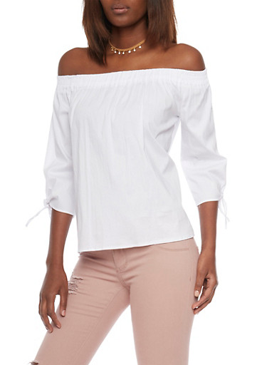 Off The Shoulder Split Back Top with Tie Sleeves,WHITE,large