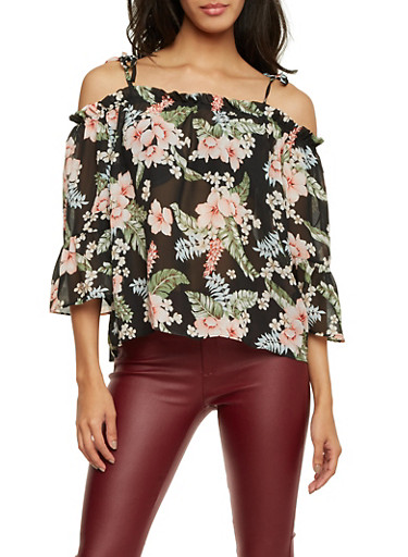 Tied Off the Shoulder Top in Floral Print,BLACK MULTI,large