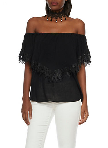 Ruffled Off the Shoulder Top with Crochet Trim,BLACK,large